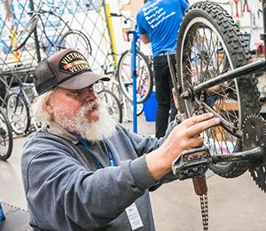 Repairing Bikes at SVdP