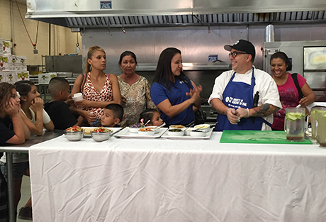Head Chef Chris Hoffman teaches healthy cooking class at SVdP.