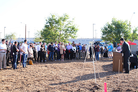 Friends, supporters and partners attend the SVdP Urban Farm groundbreaking event.