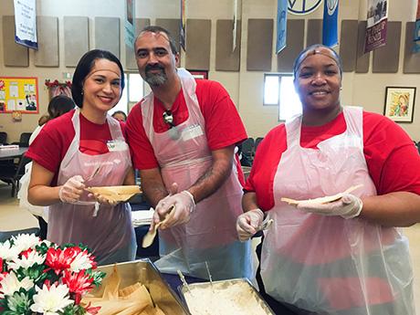 Volunteers make tamales during Tamale Tuesday at SVdP.