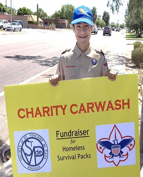Grant's Eagle Project car wash fundraiser