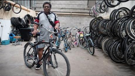 Lester Thomas and his bike